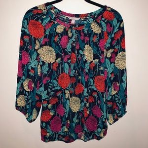 Banana Republic Long Sleeve Floral Blouse